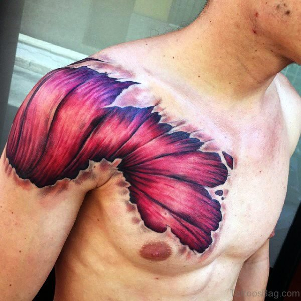 Anatomical Shoulder And Chest Tattoo