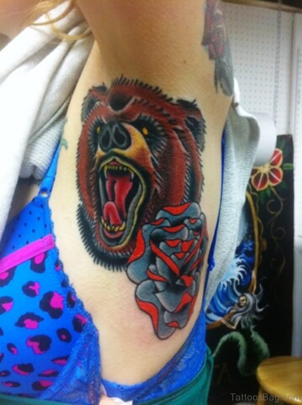 Angry Bear Tattoo On Armpit