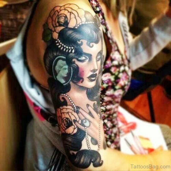 Attractive Gypsy Tattoo On Shoulder