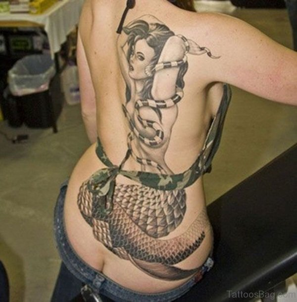 Attractive Mermaid Tattoo On Back