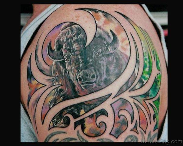Awesome Buffalo Tattoo on Shoulder