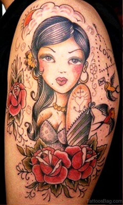 Awesome Gypsy Tattoo On Shoulder