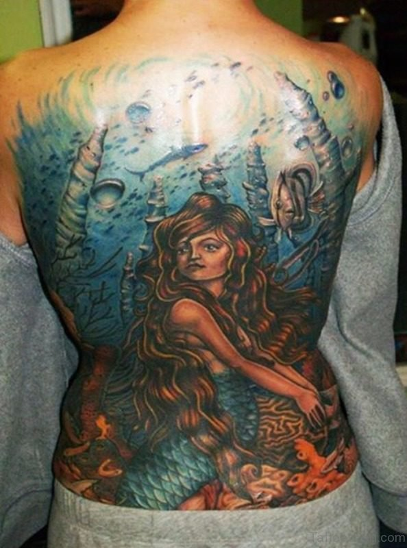 Awesome Mermaid Tattoo On Back