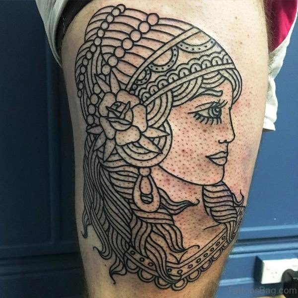 Awesome Outline Gypsy Tattoo