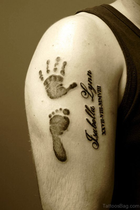 Baby Footprint And Handprint Tattoo