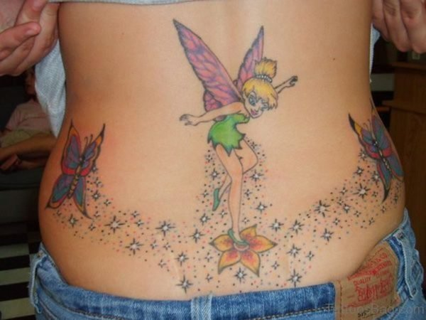 Beautiful Butterfly And Star Tattoo On Back