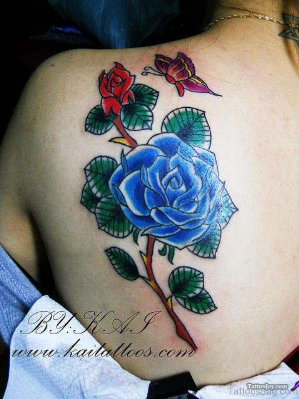 Beautiful Flower And Butterfly Tattoo On Shoulder