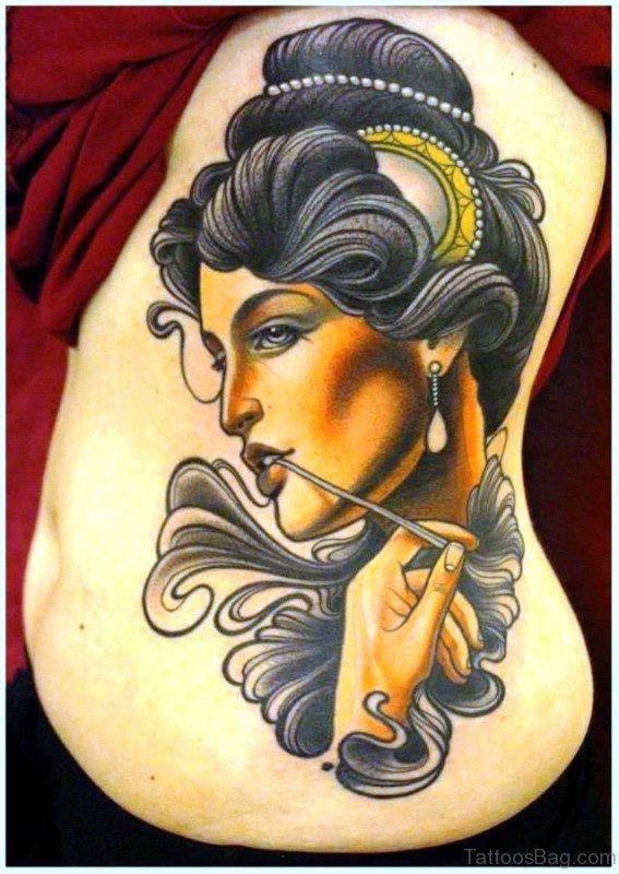 Beautiful Gypsy Tattoo On Rib