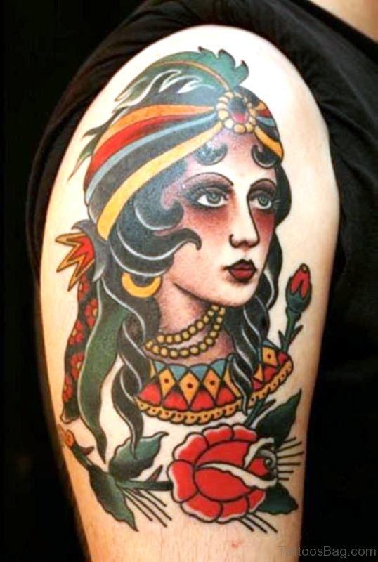 Beautiful Gypsy Tattoo On Shoulder