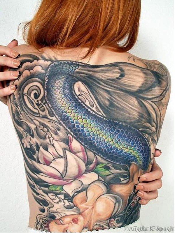 Beautiful Mermaid Tattoo On Back