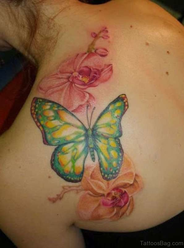 Big Butterfly And Flower Tattoo