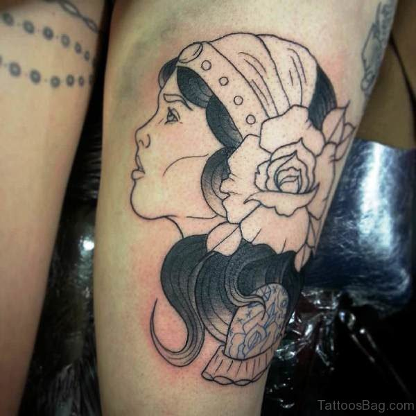 Black Gypsy With Rose Outline Tattoo