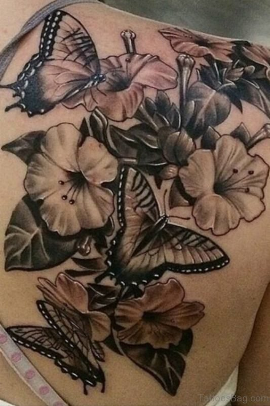 Black Ink Butterfly And Flower Tattoo On Shoulder