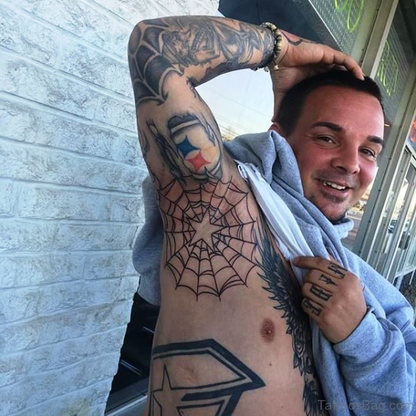 Black Web Tattoo On Armpit