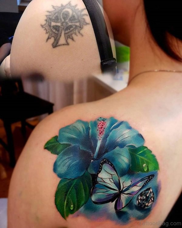 Blue Butterfly And Flower Tattoo