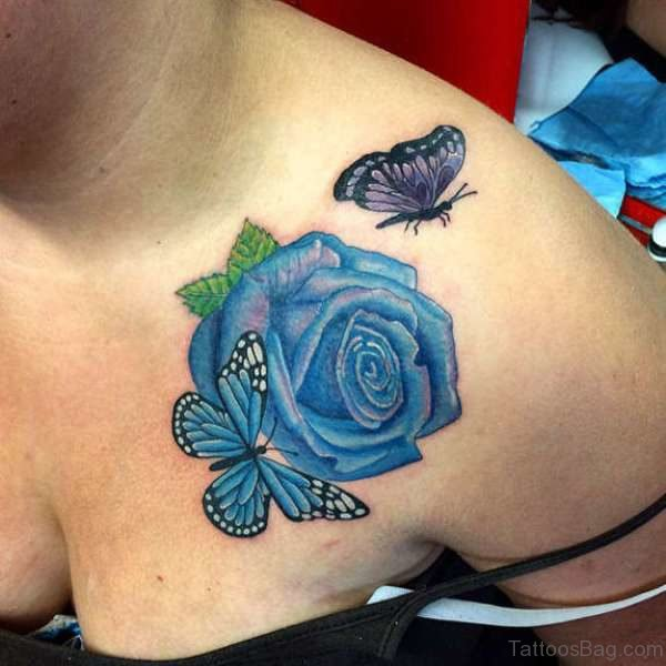 55 beautiful butterfly and flower shoulder tattoos. Black Bedroom Furniture Sets. Home Design Ideas