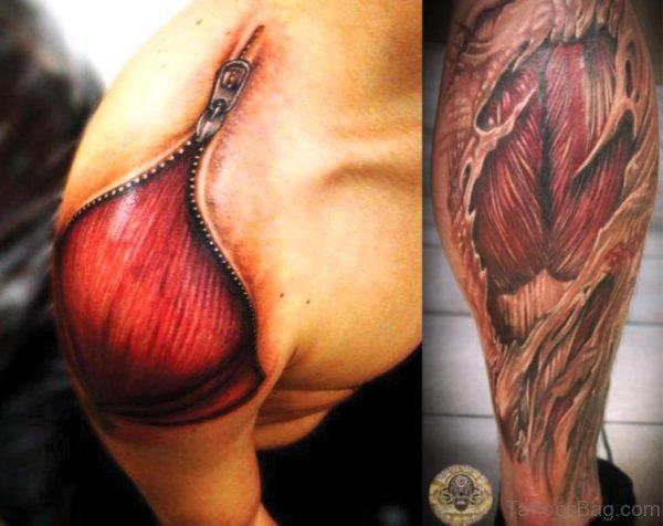 Brilliant Anatomical Tattoo On Shoulder