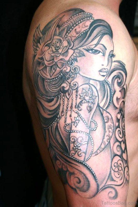 Brilliant Gypsy Tattoo On Shoulder