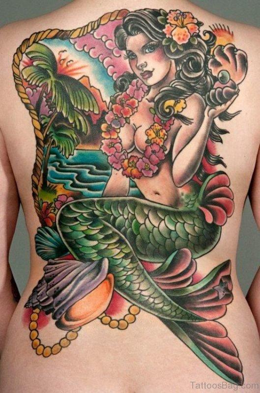 Brilliant Mermaid Tattoo On Back