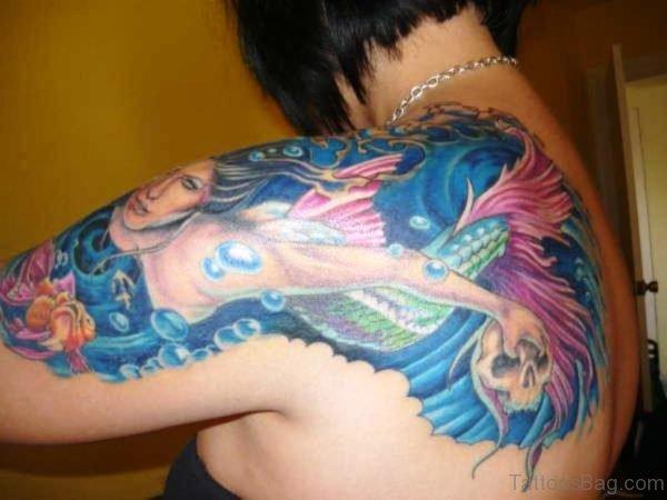Brilliant Mermaid Tattoo On Shoulder