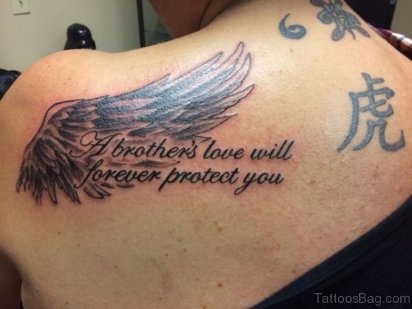 Brother With Love Tattoo On Shoulder