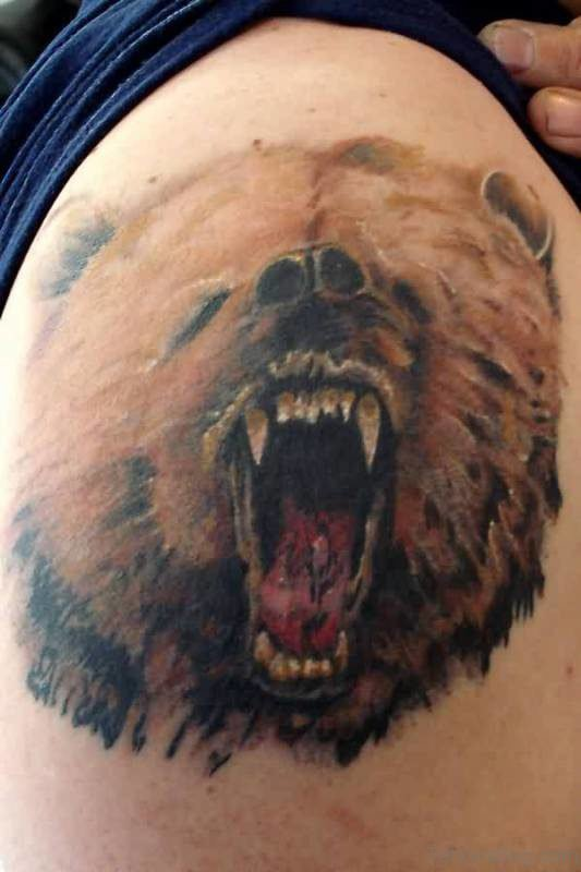 Brown Bear Tattoo On Shoulder