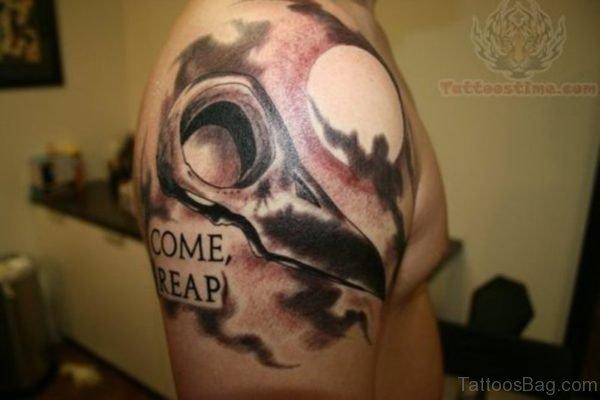 Brown Designer Tattoo On Shoulder