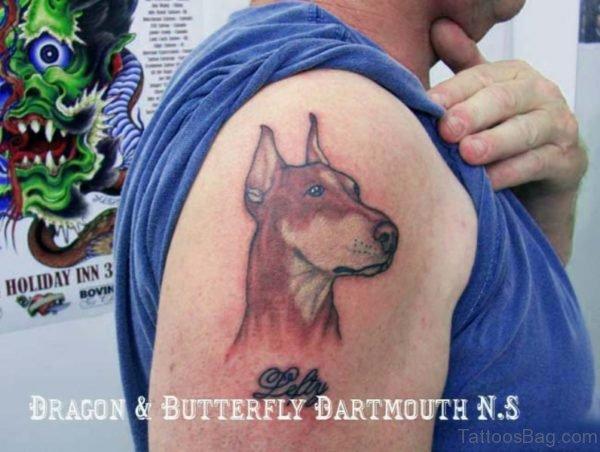 Brown Dog Tattoo On Shoulder
