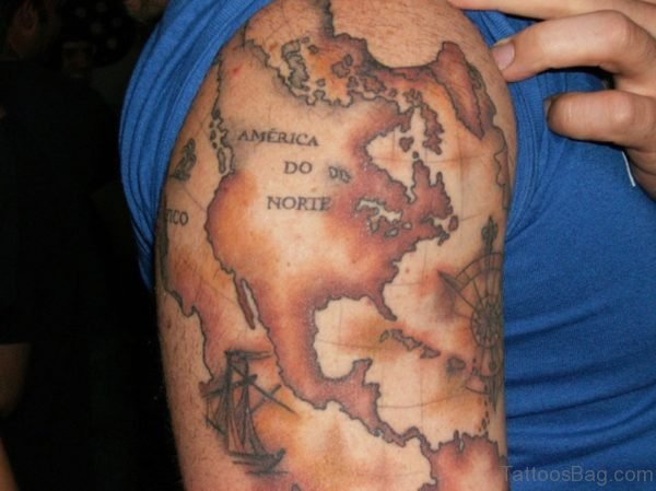 Brown Map Tattoo On Shoulder