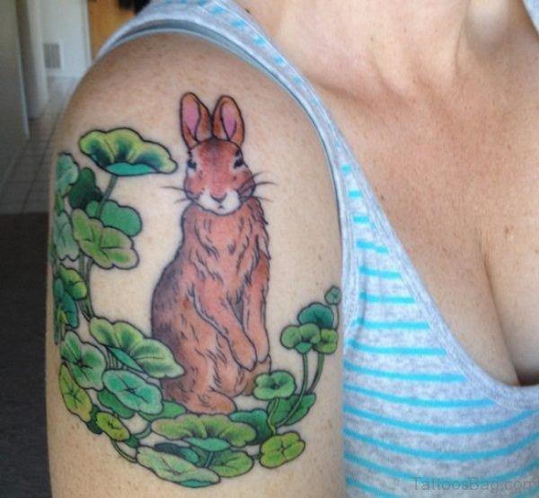 Brown Rabbit Tattoo On Shoulder