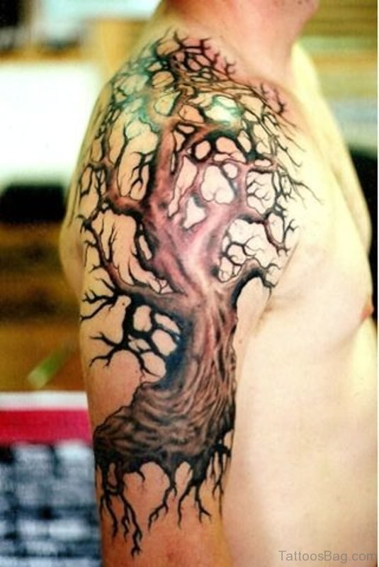 Brown Tree Tattoo On Shoulder