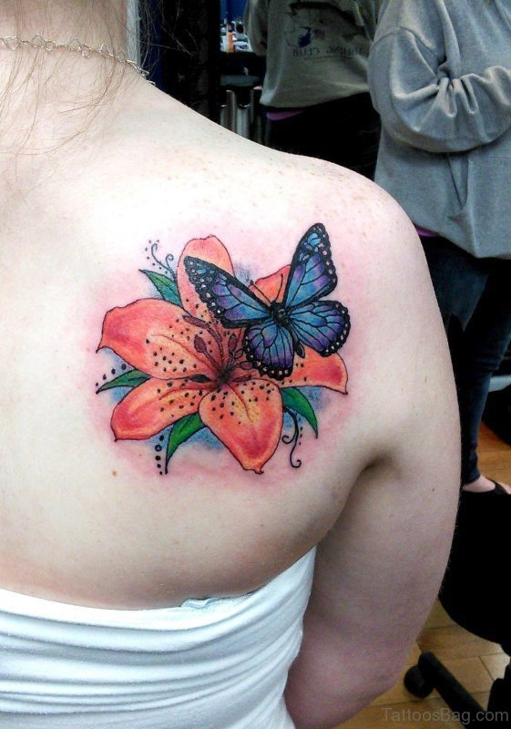 Butterfly And Orange Flower Tattoo On Shoulder