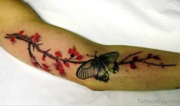 Cherry Butterfly Vine Tattoo On Arm