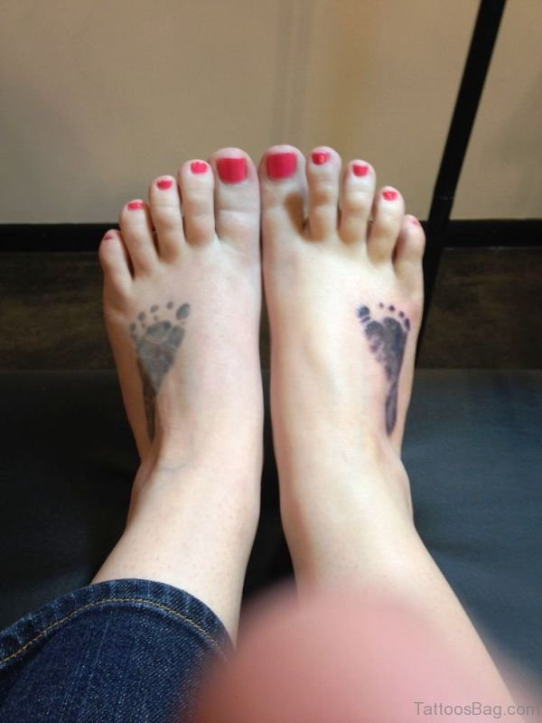 Classic Baby Footprints Tattoo On Feet