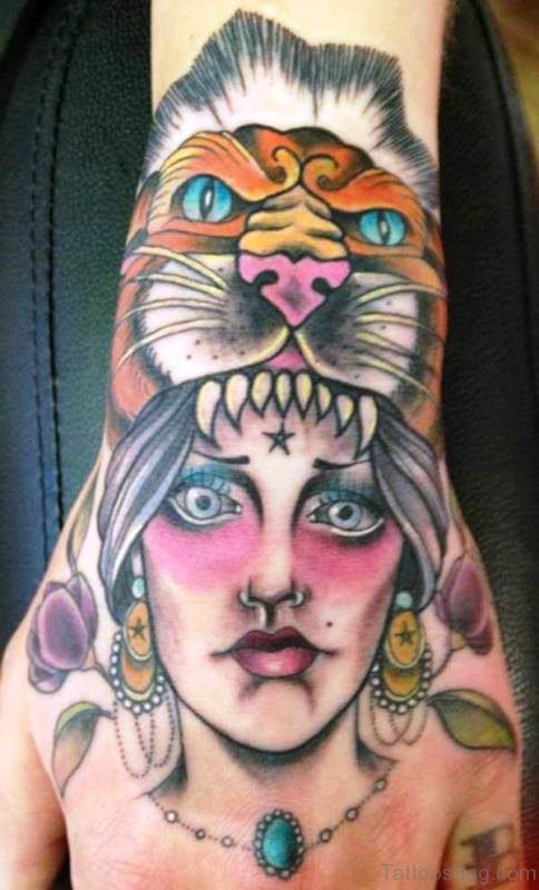 Classic Gypsy Tattoo With Lion Face