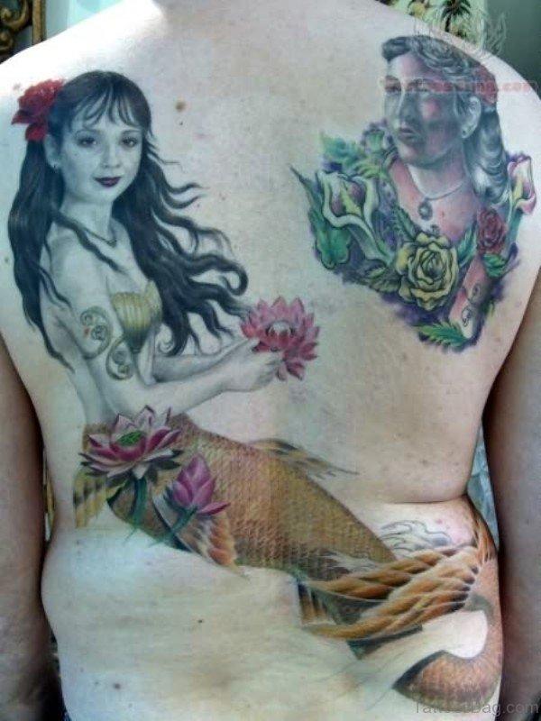 Classic Mermaid Tattoo On Back