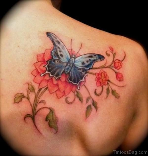 Classy Butterfly And Flower Shoulder Tattoo