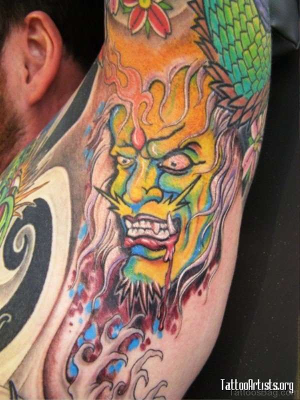 Colorful Devil Tattoo On Armpit
