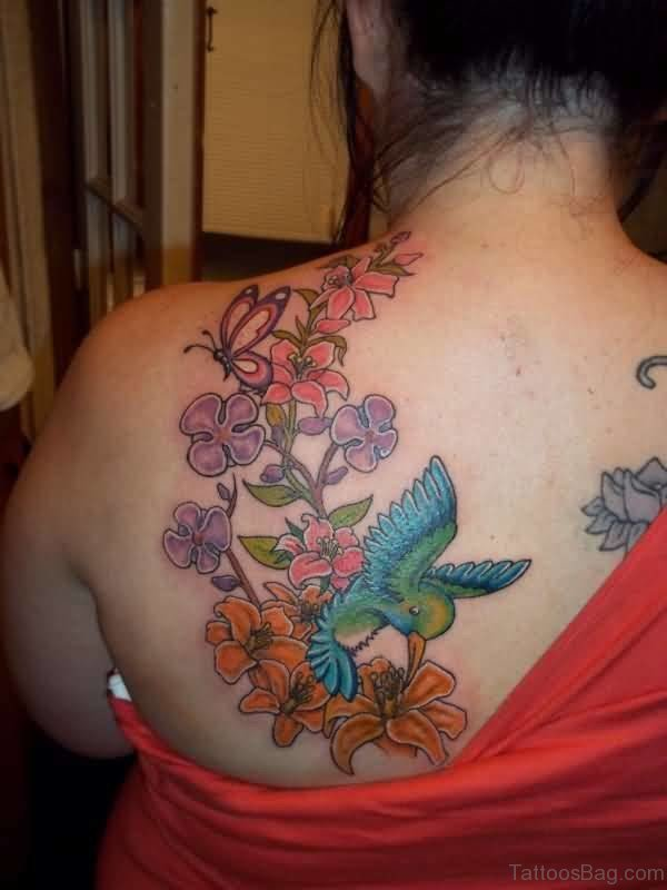 Colorful Flower And Butterfly Shoulder Tattoo
