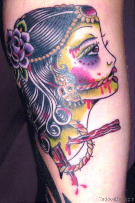 Colorful Gypsy Tattoo Design