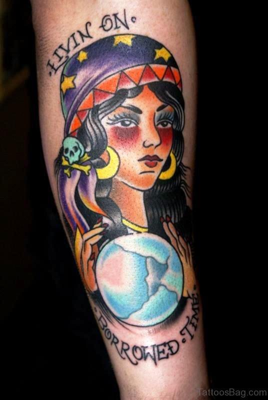 Colorful Gypsy Tattoo On Arm