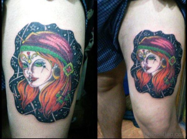 Colorful Gypsy Tattoo On Thigh