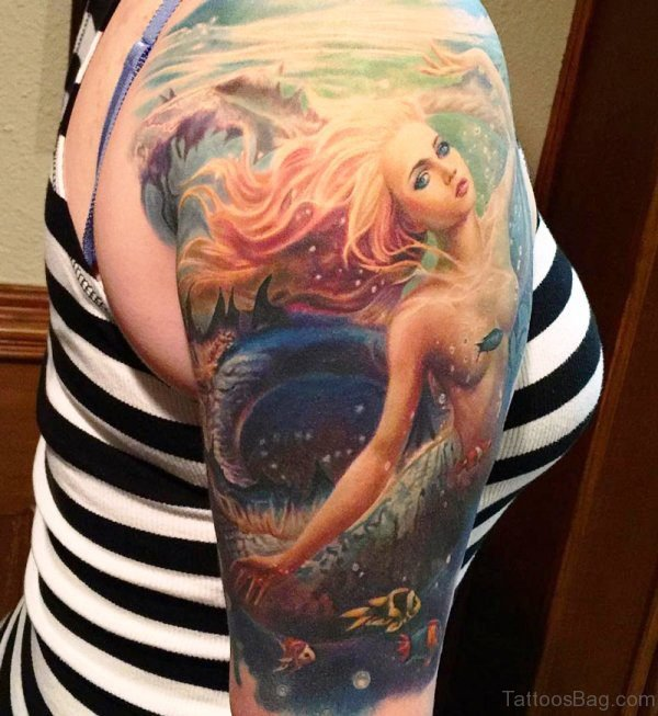 Colorful Mermaid Tattoo On Shoulder