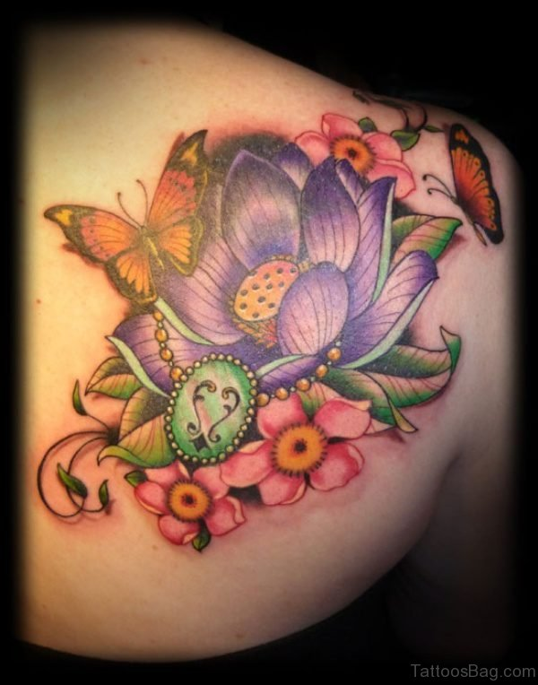 Colorful Three Butterrfly And Flower Tattoo On Shoulder