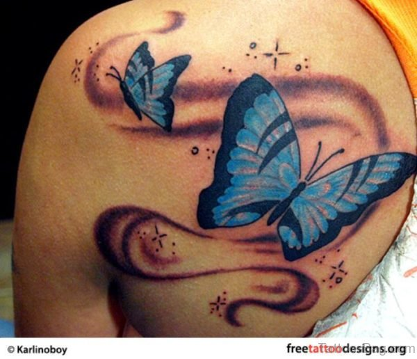 Cool Blue Butterfly Tattoo