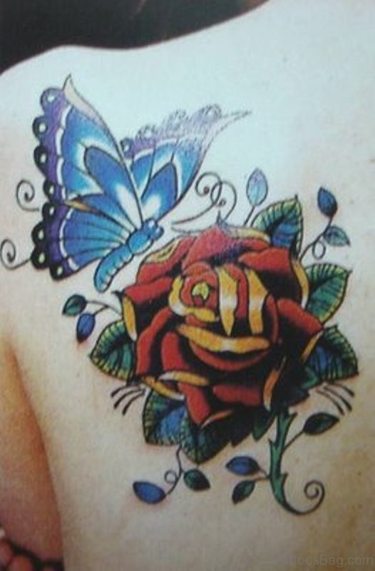 Cool Butterfly And Flower Shoulder Tattoo