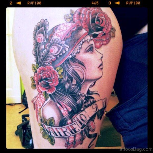 Cool Gypsy Tattoo On Shoulder