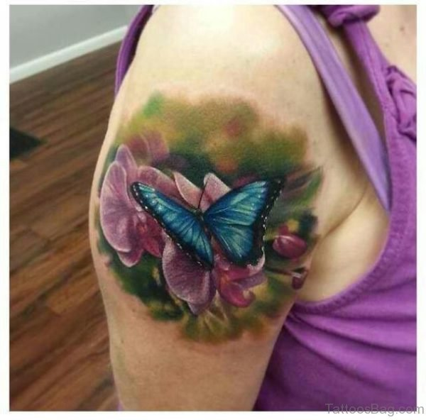Cute Butterfly And Flower Shoulder Tattoo