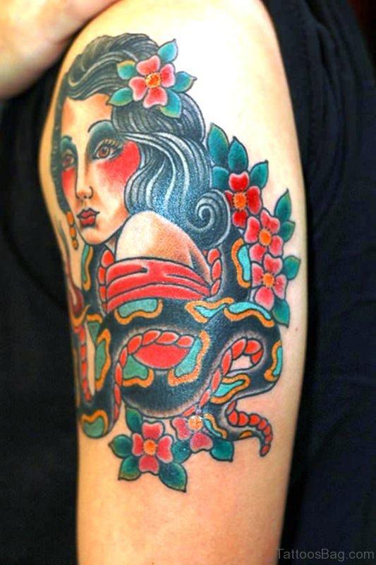 Cute Gypsy Tattoo On Shoulder