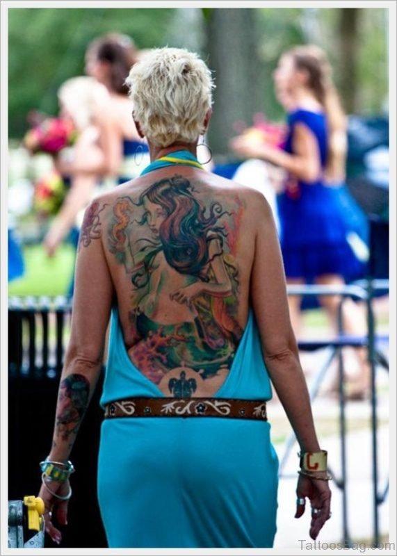 Cute Mermaid Tattoo On Back